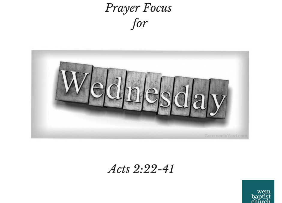 Prayer Focus for Wednesday 14th March 2018